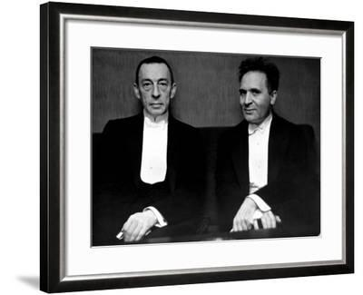 Orchestral Conductor Bruno Walter and Composer Pianist Sergei Rachmaninoff Relaxing Performance-Alfred Eisenstaedt-Framed Premium Photographic Print