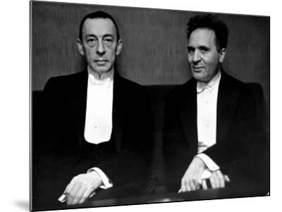 Orchestral Conductor Bruno Walter and Composer Pianist Sergei Rachmaninoff Relaxing Performance-Alfred Eisenstaedt-Mounted Premium Photographic Print