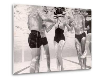 Underwater Shot of Actress Daphne Dayle in Topless, One Piece Swim Suit by Designer Ruben Torres-Paul Schutzer-Metal Print