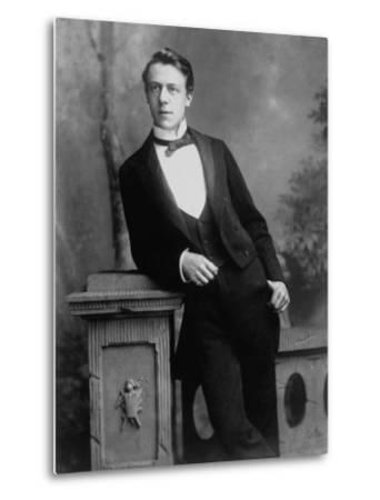 Elgant Young Man Posing for Studio Portrait Attired in Black Tie and Tails--Metal Print