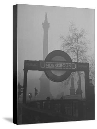 View of the Fog Drenched Streets of London-Tony Linck-Stretched Canvas Print