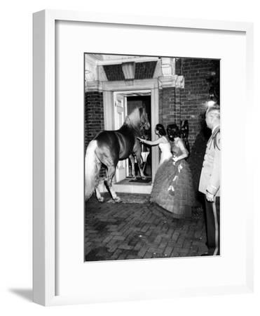 People Bringing in Horse at Dwight D. Eisenhower's Inauguration Party-Cornell Capa-Framed Photographic Print