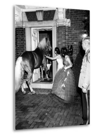 People Bringing in Horse at Dwight D. Eisenhower's Inauguration Party-Cornell Capa-Metal Print