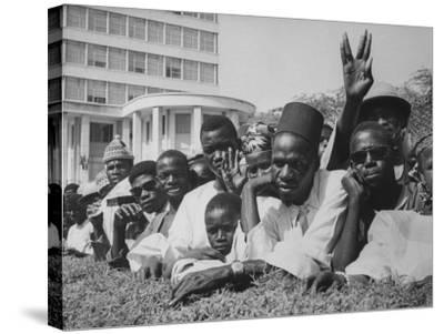 Senegalese Awaiting Arrival of US VP Lyndon Johnson to Celebrate First Year of their Independence-Hank Walker-Stretched Canvas Print