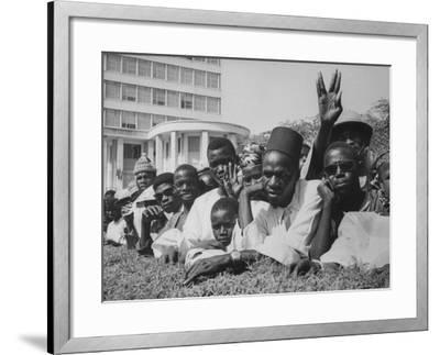 Senegalese Awaiting Arrival of US VP Lyndon Johnson to Celebrate First Year of their Independence-Hank Walker-Framed Photographic Print