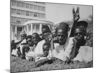 Senegalese Awaiting Arrival of US VP Lyndon Johnson to Celebrate First Year of their Independence-Hank Walker-Mounted Photographic Print