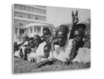 Senegalese Awaiting Arrival of US VP Lyndon Johnson to Celebrate First Year of their Independence-Hank Walker-Metal Print