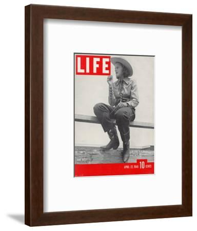 14-yr-old Cowgirl Jimmy Rogers Showing off Latest Western Clothing Trend, April 22, 1940-Peter Stackpole-Framed Photographic Print