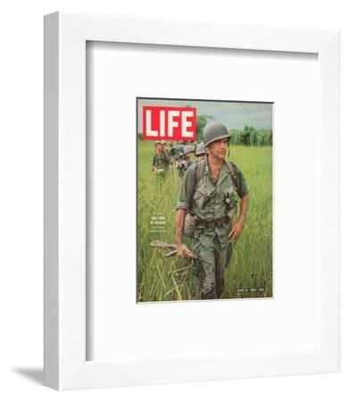 Soldiers Walking Through Grass in Vietnam, June 12, 1964-Larry Burrows-Framed Photographic Print