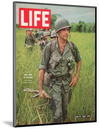 Soldiers Walking Through Grass in Vietnam, June 12, 1964-Larry Burrows-Mounted Photographic Print