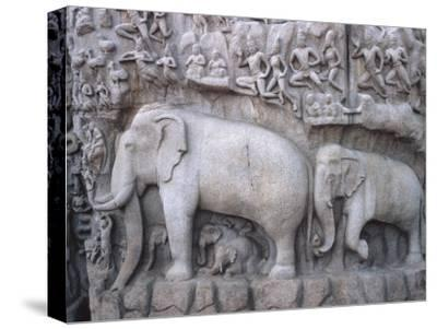 Close-Up of Ornate Sculpture of Elephants, Mahabalipuram, India--Stretched Canvas Print