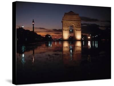 Historical Gate of India at Sunset in Bombay, India--Stretched Canvas Print