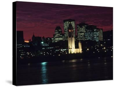 Cityscape of Montreal at Sunset with Illuminating Lights from Buildings in Quebec, Canada--Stretched Canvas Print