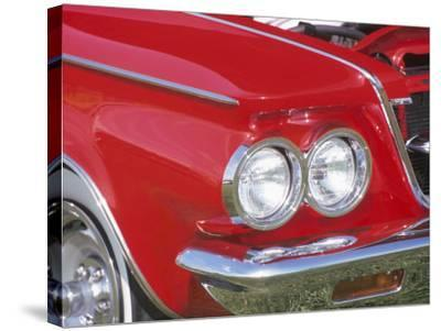 Chrome Headlight in Red Antique Car--Stretched Canvas Print