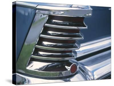 Chrome Fin on Antique Blue Car--Stretched Canvas Print
