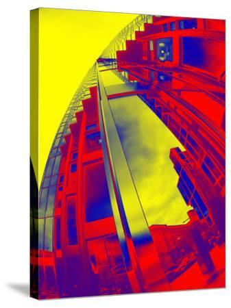Red and Yellow View of Skyscrapers from Street--Stretched Canvas Print