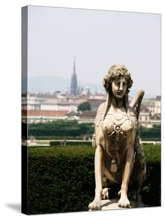 Statue and City View of Beautiful Vienna, Austria--Stretched Canvas Print