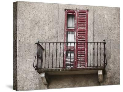 Weathered Shutters to Rusted Balcony of Old Building--Stretched Canvas Print