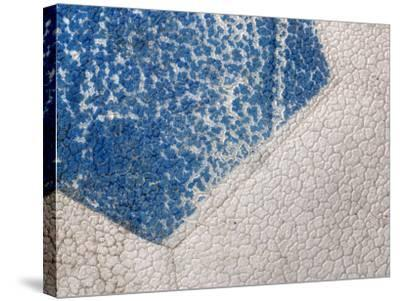 Close-Up of Cracked Blue and White Paint of Soccer Ball--Stretched Canvas Print