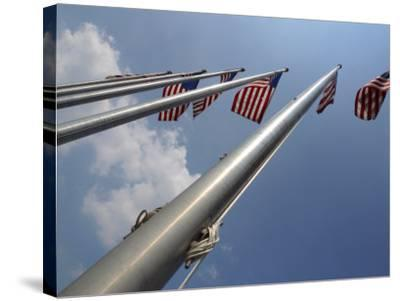 American Flags Flying on a Flag Pole in the Usa--Stretched Canvas Print