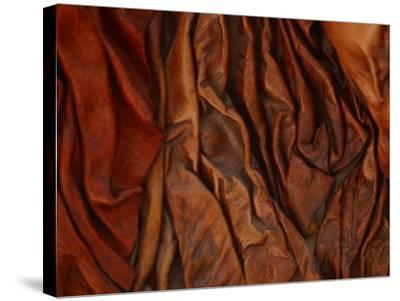 Close-Up of Wrinkled Brown Leather--Stretched Canvas Print