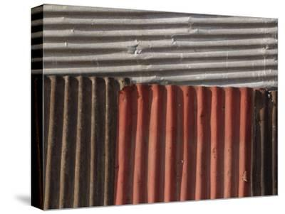 Multicolored Corrugated Tin--Stretched Canvas Print