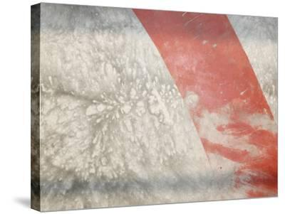Red Stripe across Abstract Splash Pattern in Gray--Stretched Canvas Print