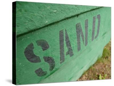 Sand Painted on Bright Green Wood Plank Wall--Stretched Canvas Print