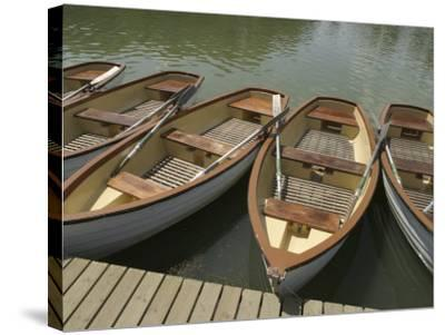 Row of Docked Rowboats--Stretched Canvas Print