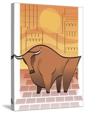 Symbolic Stock Market Bull--Stretched Canvas Print