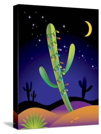 Saguaro Cactus Decorated with Christmas Lights--Stretched Canvas Print