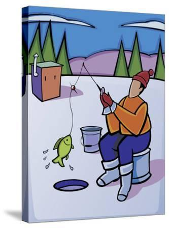 Man Ice Fishing on Frozen Lake--Stretched Canvas Print