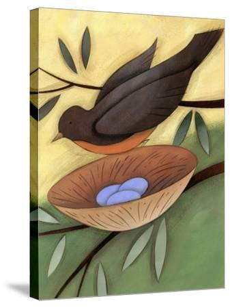 Bird Landing on Nest with Eggs--Stretched Canvas Print
