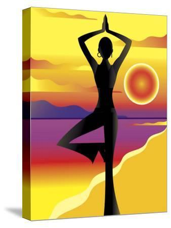 Woman Doing Yoga on Beach at Sunset--Stretched Canvas Print