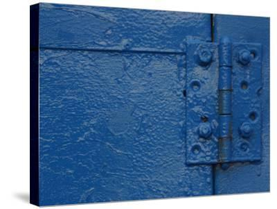 Vibrant Blue Painted Door and Hinge--Stretched Canvas Print