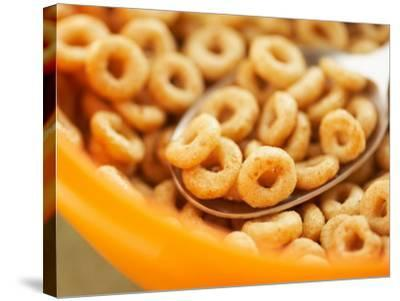 Spoon in Bowl of Breakfast Cereal--Stretched Canvas Print