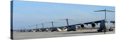 Formation of U.S. Air Force C-17 Globemaster III's Prepare for Departure-Stocktrek Images-Stretched Canvas Print