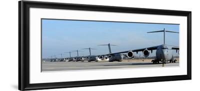 Formation of U.S. Air Force C-17 Globemaster III's Prepare for Departure-Stocktrek Images-Framed Photographic Print