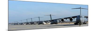 Formation of U.S. Air Force C-17 Globemaster III's Prepare for Departure-Stocktrek Images-Mounted Photographic Print