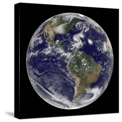 Earth and Four Storm Systems-Stocktrek Images-Stretched Canvas Print