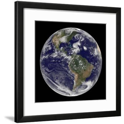 Earth and Four Storm Systems-Stocktrek Images-Framed Photographic Print