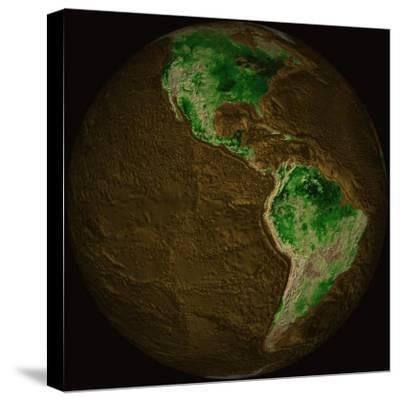 Topographic Map of Earth-Stocktrek Images-Stretched Canvas Print
