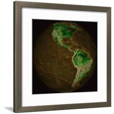 Topographic Map of Earth-Stocktrek Images-Framed Photographic Print