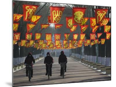 Bicycle Riders at Entranceway to Festival, Ice and Snow Festival, Harbin, Heilongjiang, China-Walter Bibikow-Mounted Photographic Print