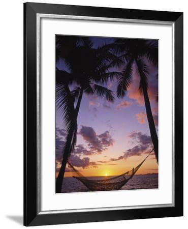 Hammock on Beach, Danarau, Viti Levu, Fiji-Neil Farrin-Framed Photographic Print