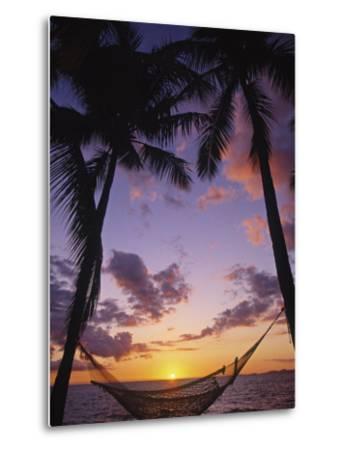 Hammock on Beach, Danarau, Viti Levu, Fiji-Neil Farrin-Metal Print