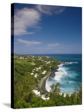 Reunion Island, South Reunion, Manapany-Les-Bains Seaside Town-Walter Bibikow-Stretched Canvas Print