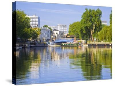 Canal Boats, Little Venice, Maida Vale, London, England-Jane Sweeney-Stretched Canvas Print