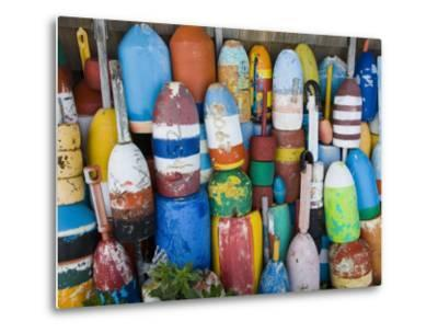 Lobster Buoys, Rockport Harbour, Rockport, Cape Ann, Massachusetts, USA-Walter Bibikow-Metal Print