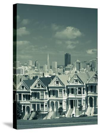 Alamo Square, San Francisco, California, USA-Walter Bibikow-Stretched Canvas Print